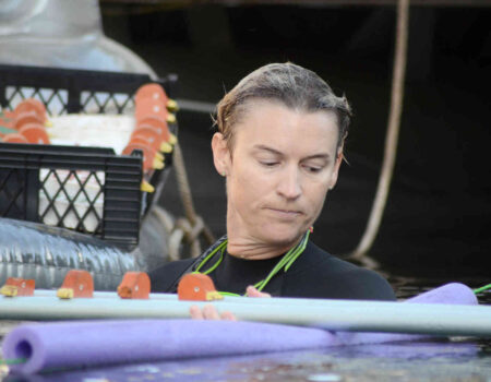 Alissa Martin of Wil-Power Foundation sets up a heat of ducks