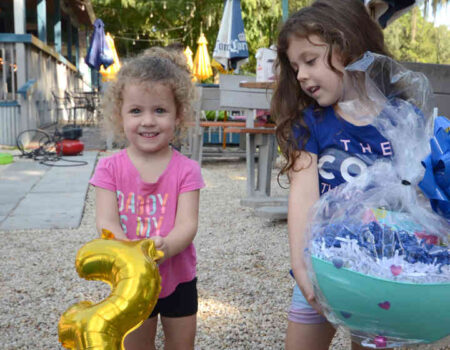 The Byrd family, including Katie, 2, and Emily, 5, had the third place duck during the Dunnellon Duck Race for nonprofits on September 25.
